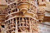 stock photo of jain  - Artistic stone pillar carving at Jain Temples in Jaisalmer Fort Jaisalmer Rajasthan India Asia - JPG