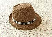 image of panama hat  - Brown Hat on vintage background and texture - JPG