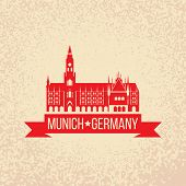 foto of bavaria  - Black grunge rubber stamp with the name of Munich the capital city of Bavaria from Germany - JPG