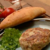 stock photo of baguette  - Burger with parsley and baguette on a plate - JPG