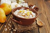 picture of ceramic bowl  - Oatmeal with caramelized apples in the ceramic bowl - JPG