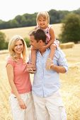 stock photo of riding-crop  - Family Walking Together Through Summer Harvested Field - JPG