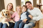foto of lap  - Happy young family sitting on sofa holding a dog - JPG