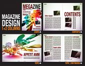 Magazine Layout Design Template with Cover + 6 pages (3 spreads) of Contents Preview.