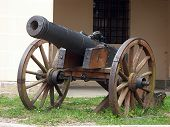 Picture of old bronze cannon.