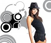 picture of showgirl  - sexy showgirl over abstract round modern design background - JPG