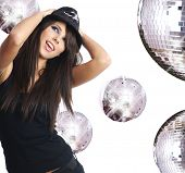foto of showgirl  - sexy showgirl girl over mirror ball background - JPG