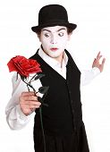 foto of clown rose  - mime holding a rose  - JPG