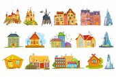 Постер, плакат: Set of different buildings such as private houses skyscrapers cottages business buildings fairy