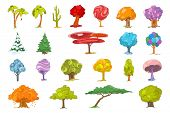 Постер, плакат: Set of various cute trees Collection of colourful fantasy trees Palm trees mexican tall cactus a