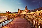Night view of Spain Square (Plaza de Espana). Seville, Spain. Instagram grunge filter poster
