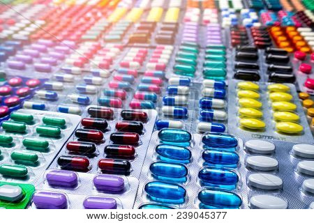 Colorful Of Tablets And Capsules