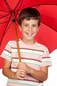 Funny Child With A Red Umbrella