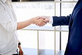 Handshake After Good Cooperation, Real Estate Broker Residential Agent Shaking Hands With Customer A poster