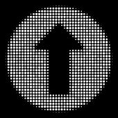Rounded Arrow Halftone Vector Icon. Illustration Style Is Dotted Iconic Rounded Arrow Symbol On A Bl poster