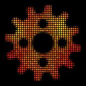 Pixel Cogwheel Icon. Bright Pictogram In Orange Color Hues On A Black Background. Vector Halftone Co poster