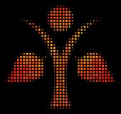 Pixelated Ecology Man Icon. Bright Pictogram In Fire Color Hues On A Black Background. Vector Halfto poster