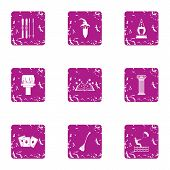 Magical Journey Icons Set. Grunge Set Of 9 Magical Journey Vector Icons For Web Isolated On White Ba poster