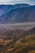 Winding Palms To Pines Highway Desert Road In The Coachella Valley, Palm Desert, Ca poster