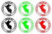Made In Peru - Rubber Stamp - Vector, Peru Map Pattern - Black, Green And Red poster