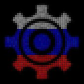 Halftone Cogwheel Icon Colored In Russia Official Flag Colors On A Dark Background. Vector Collage O poster