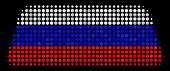 Halftone Treasure Brick Icon Colored In Russian Official Flag Colors On A Dark Background. Vector Co poster