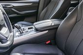 Modern Luxury Car Inside. Interior Of Prestige Modern Car. Comfortable Leather Seats. Black Perforat poster