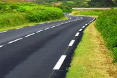 foto of paved road  - Empty winding country road in Brittany France - JPG