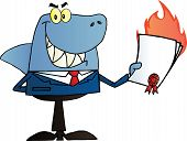 picture of loan-shark  - Shark Salesman Holding A Bad Contract In His Hand - JPG