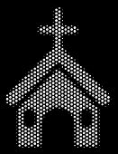 Dot White Christian Church Icon On A Black Background. Vector Halftone Mosaic Of Christian Church Ic poster