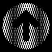 Pixelated White Rounded Arrow Icon On A Black Background. Vector Halftone Collage Of Rounded Arrow P poster