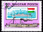 Canceled Hungarian Postage Stamp Old New Boats Danube Buda Castle