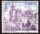 Stamp Segovia Castle, Spain, Ornate Fortification