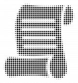 Dot Black Script Roll Icon. Vector Halftone Mosaic Of Script Roll Pictogram Created From Round Dots. poster