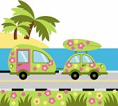 foto of caravan  - vehicle with trailer for recreation and travel - JPG