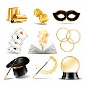 Magician Symbol Set With Black Cylinder Hat, Falling Dice, Magic Wand, Open Book With Magic Light, L poster