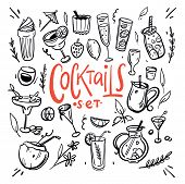 Cocktails And Soft Drinks Hand Drawn Vector Illustration Sketches Isolated On White Background. poster