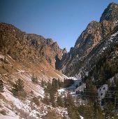 image of amtrak  - Upper Gore Canyon from window of Amtrak California Zephyr - JPG