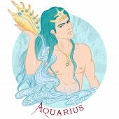 Zodiac. Vector Illustration Of The Astrological Sign Of Aquarius As A Beautiful Man With A Naked Tor poster