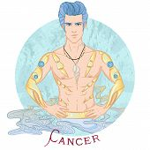 Zodiac. Vector Illustration Of The Astrological Sign Of Cancer As A Beautiful Man With A Naked Torso poster
