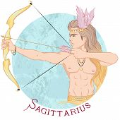 Zodiac. Vector Illustration Of The Astrological Sign Of Sagittarius As A Beautiful Man With A Naked  poster