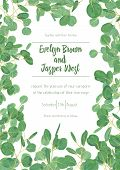 Wedding Invite Invitation Menu Card Vector Floral Greenery Design: Forest Eucalyptus Branches & Gree poster