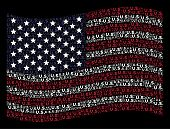Us Text Items Are Grouped Into Waving American Flag Abstraction On A Dark Background. Vector Collage poster