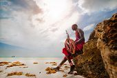 Portrait Of A Maasai Warrior In Africa. Tribe, Diani Beach, Culture poster