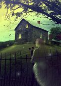 foto of farm-house  - Abandoned haunted house on a hillside - JPG