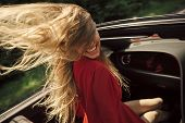 Travel And Summer Vacation. Sexy Woman Drive Car, Fashion, Beauty. Businesswoman Or Pretty Woman In  poster