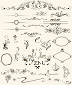 stock photo of art nouveau  - vector set design elements and page decoration - JPG