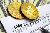 The Pen, Bitcoins And Dollar Bills Is Lies On The Tax Form 1040 U.s. Individual Income Tax Return. T poster