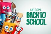 School Characters Vector Education Background. Back To School Text In White Empty Space With Colorfu poster