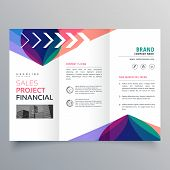 Business Trifold Brochure Template With Colorful Abstract Wavy Shape poster